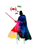 Darth Fighting Watercolor 1 Poster by Lora Feldman