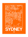 Orange Map of Sydney Prints by  NaxArt