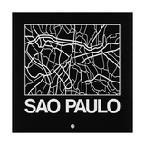 Black Map of Sao Paulo Print by  NaxArt