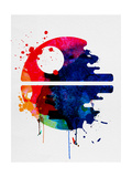 Death Star Watercolor Cartoon Poster von Lora Feldman