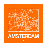 Orange Map of Amsterdam Print by  NaxArt