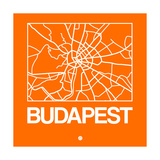 Orange Map of Budapest Print by  NaxArt