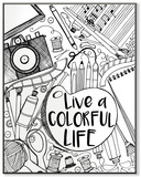 Live a Colorful Life DIY Coloring Wall Plaque Wood Sign