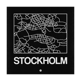 Black Map of Stockholm Posters by  NaxArt