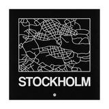 Black Map of Stockholm Premium Giclee Print by  NaxArt