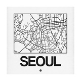 White Map of Seoul Posters by  NaxArt