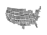 Typography Usa Map Prints by  NaxArt