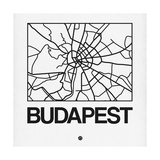 White Map of Budapest Prints by  NaxArt