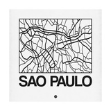 White Map of Sao Paulo Prints by  NaxArt