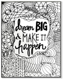 Dream Big & Make it Happen DIY Coloring Wall Plaque Wood Sign