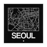 Black Map of Seoul Prints by  NaxArt
