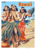 Hawaii - Hawaiian Hula Dancers Prints by  Pacifica Island Art