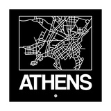 Black Map of Athens Prints by  NaxArt