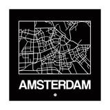 Black Map of Amsterdam Prints by  NaxArt