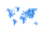 World Map Blue Drawing Art by  NaxArt