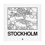 White Map of Stockholm Prints by  NaxArt