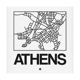 White Map of Athens Art by  NaxArt