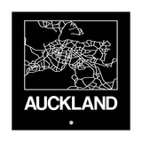 Black Map of Auckland Poster af NaxArt