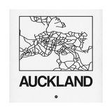 White Map of Auckland Poster af NaxArt