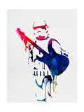 Trooper Playing Guitar Watercolor Prints by Lora Feldman
