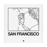 White Map of San Francisco Art by  NaxArt