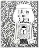 Life is Short but Sweet Gumball Machine DIY Coloring Wall Plaque Wood Sign