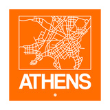 Orange Map of Athens Posters by  NaxArt