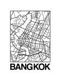 White Map of Bangkok Poster by  NaxArt