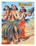 Hawaii - Hawaiian Hula Dancers Giclée-tryk af Pacifica Island Art