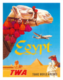 Egypt - TWA (Trans World Airlines) - Egyptian Camels, Pyramid, Sphinx Giclée-tryk af David Klein