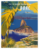 Fly to South America - British Overseas Airways Corporation - Sugarloaf Mountain, Rio De Janeiro, B Giclee Print by Frank Wotton