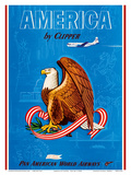 America by Clipper - Pan American World Airways - United States National Bald Eagle ポスター :  Pacifica Island Art