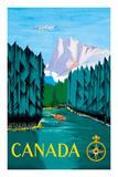 Canada - River Log Driving Wydruk giclee premium autor Jean Doré