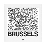 White Map of Brussels Premium Giclee Print by  NaxArt