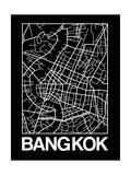 Black Map of Bangkok Prints by  NaxArt