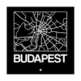 Black Map of Budapest Prints by  NaxArt