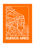 Orange Map of Buenos Aires Posters por NaxArt