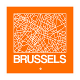 Orange Map of Brussels Posters by  NaxArt