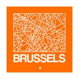 Orange Map of Brussels Premium Giclee Print by  NaxArt