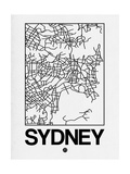 White Map of Sydney Art by  NaxArt