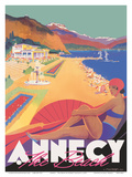 Lake Annecy - The Beach - France - Chemins de fer de Paris-Lyon-Mediterranée Railway (PLM) Prints by Robert Falcucci