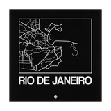 Black Map of Rio De Janeiro Prints by  NaxArt