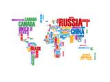 NaxArt - Typography World Map 8 Obrazy