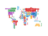 Typography World Map 8 Prints by  NaxArt