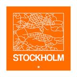 Orange Map of Stockholm Premium Giclee Print by  NaxArt