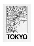 White Map of Tokyo Poster par  NaxArt
