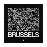 Black Map of Brussels Prints by  NaxArt