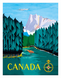Canada - River Log Driving Wydruk giclee autor Jean Doré