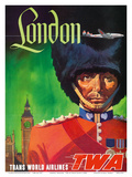 London, England - TWA (Trans World Airlines) - Royal Queen's Guard Poster by David Klein
