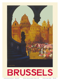 Brussels, Belgium - The Grand Place - Belgian National Railways Prints by Frank H. Mason